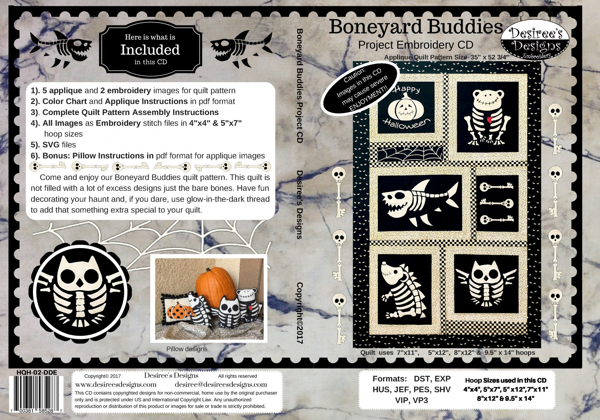 Boneyard Buddies Embroidery CD (HQH-02-DDE)