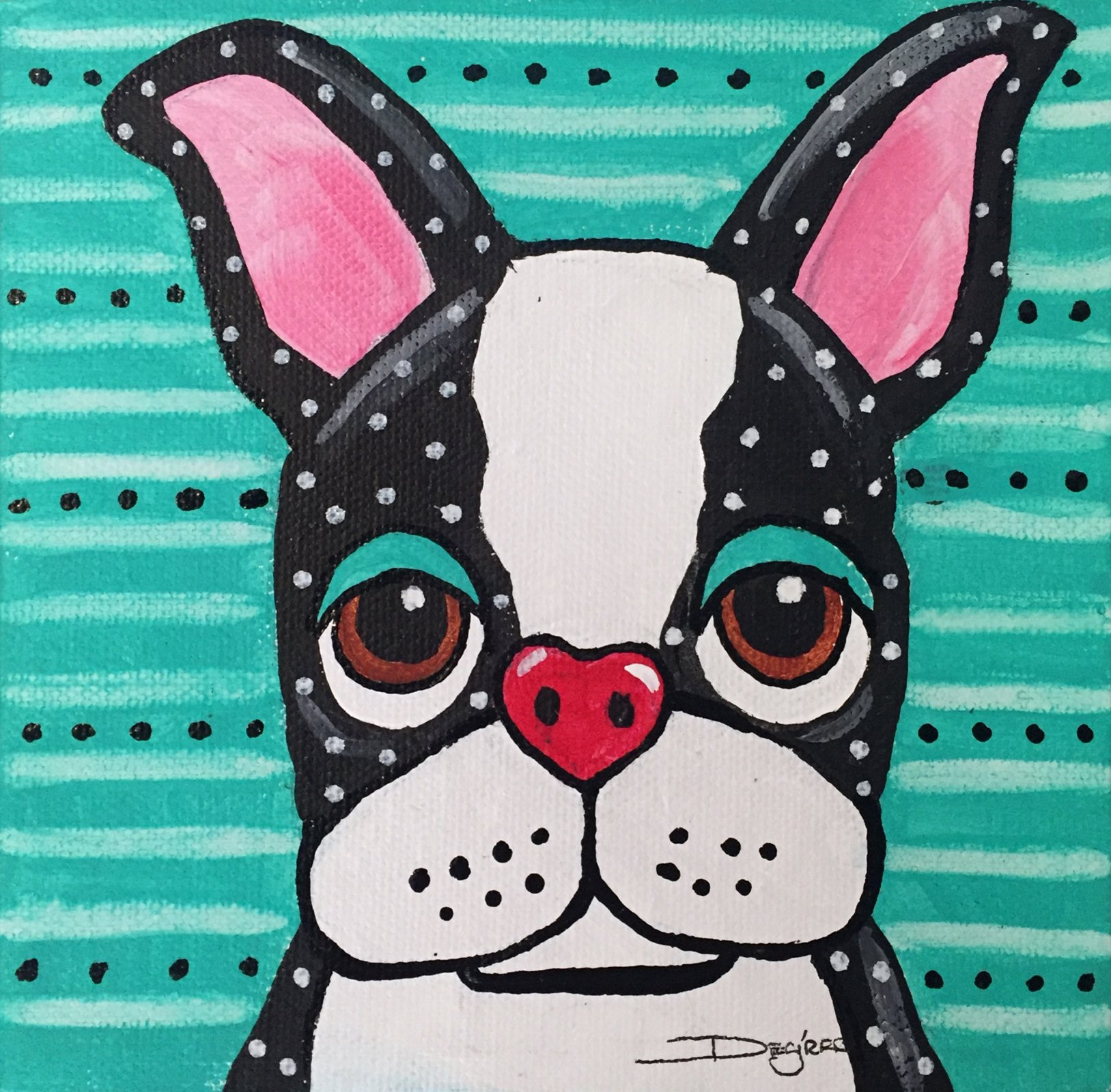 Whimsical Boston Terrier Acrylic Painting 6x6 originals! (AW-01)