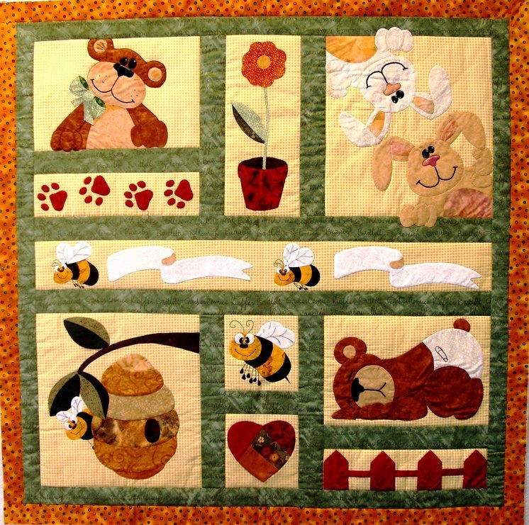 Bee's Bunnies and Bears E-pattern (BQ-02-E) Approx 48x48