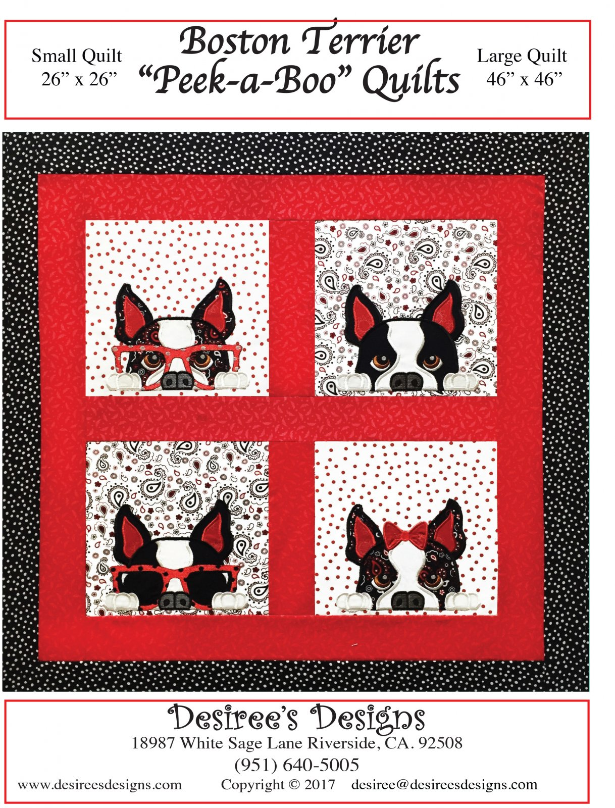 Boston Terrier Peek-a-Boo Quilts E- Pattern only- (BQ-12-E)