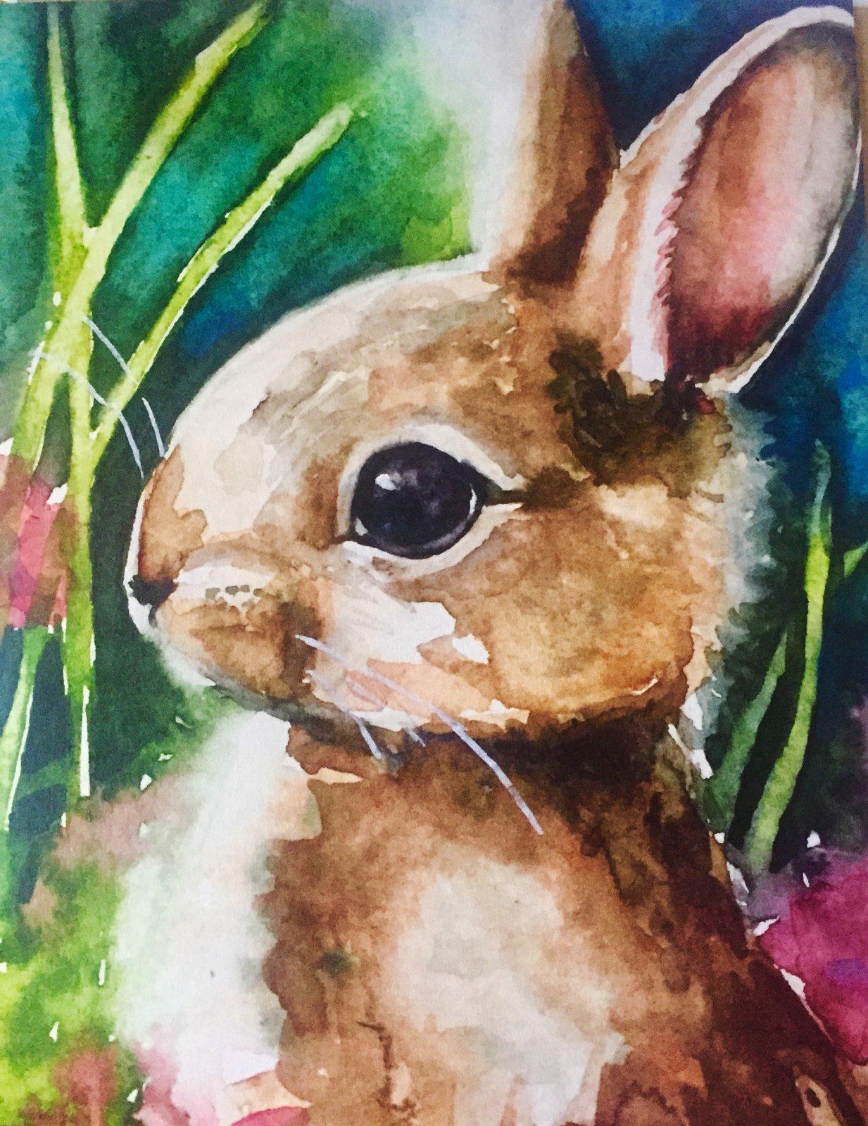 Curious Bunny Art Print 8x 10 (AW-01)