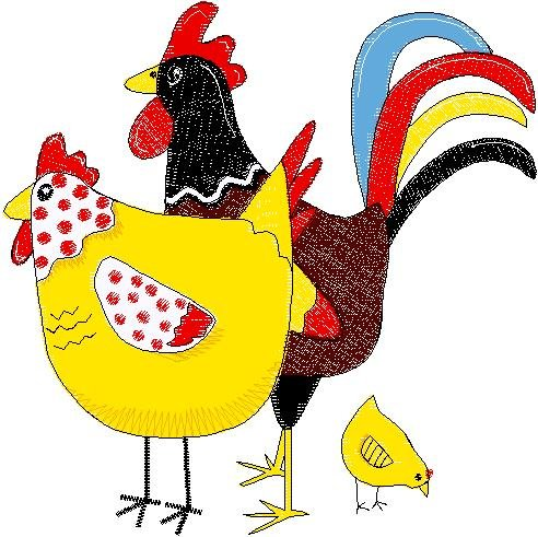 Patchwork Farms Chicken Family Embroidery Download (ED-03-E5)