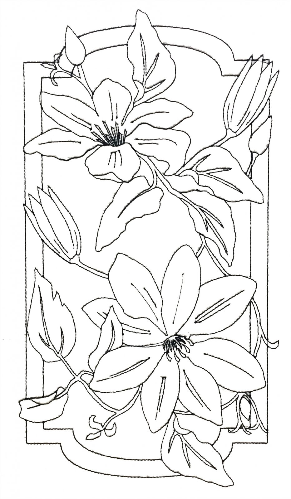 Pre-Stitched Art Applique blocks for coloring- Large Clematis (QA-14C)