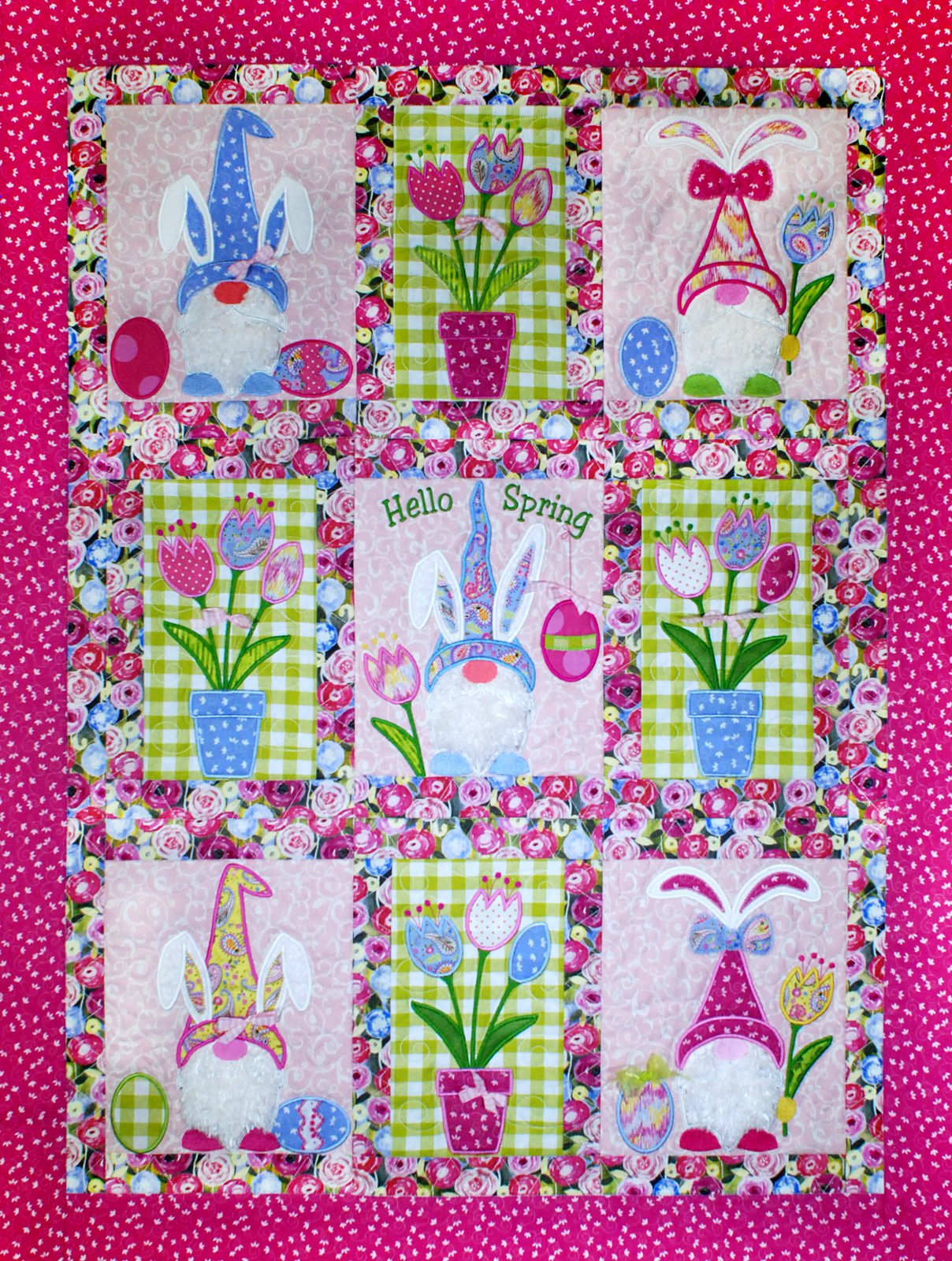 Hello Spring Bunny Gnome Quilt and Flag Download only (HQE-01-DDE-E)