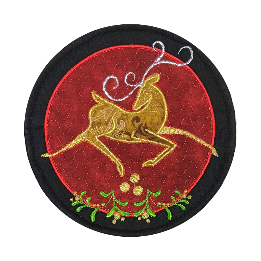 Reindeer Dancer ITH Mug Rug Embroidery CD- (MR-107-DDE)