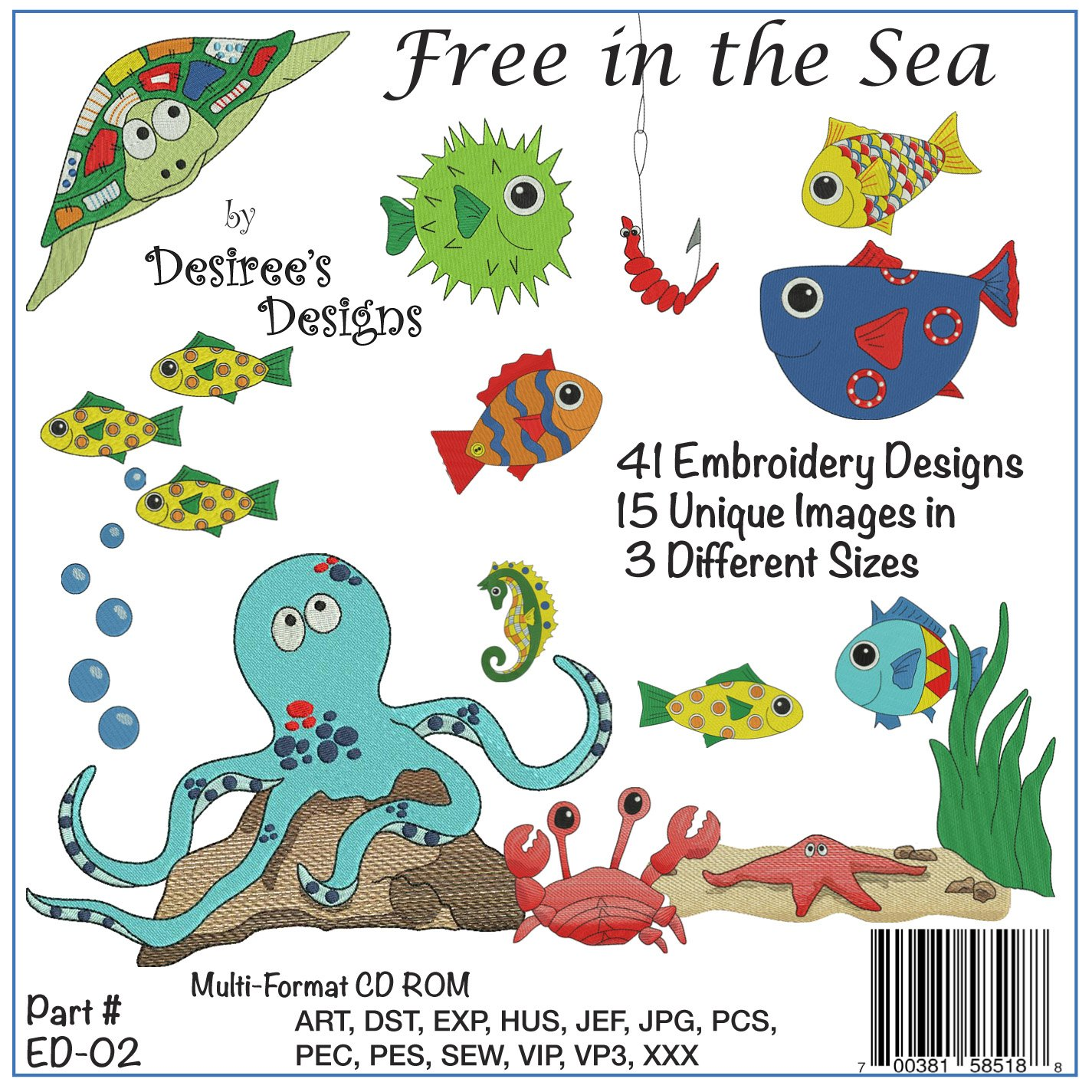 Free in the Sea Embroidery CD