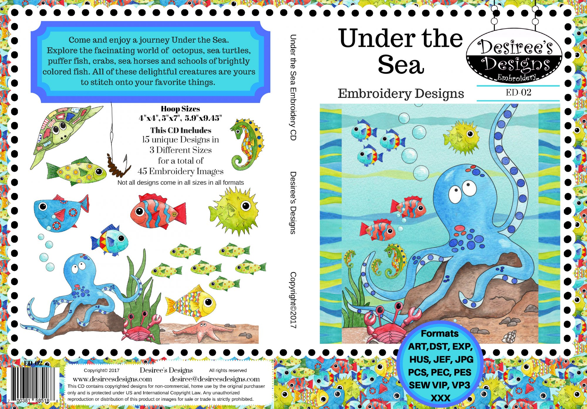Free in the Sea Embroidery Download only