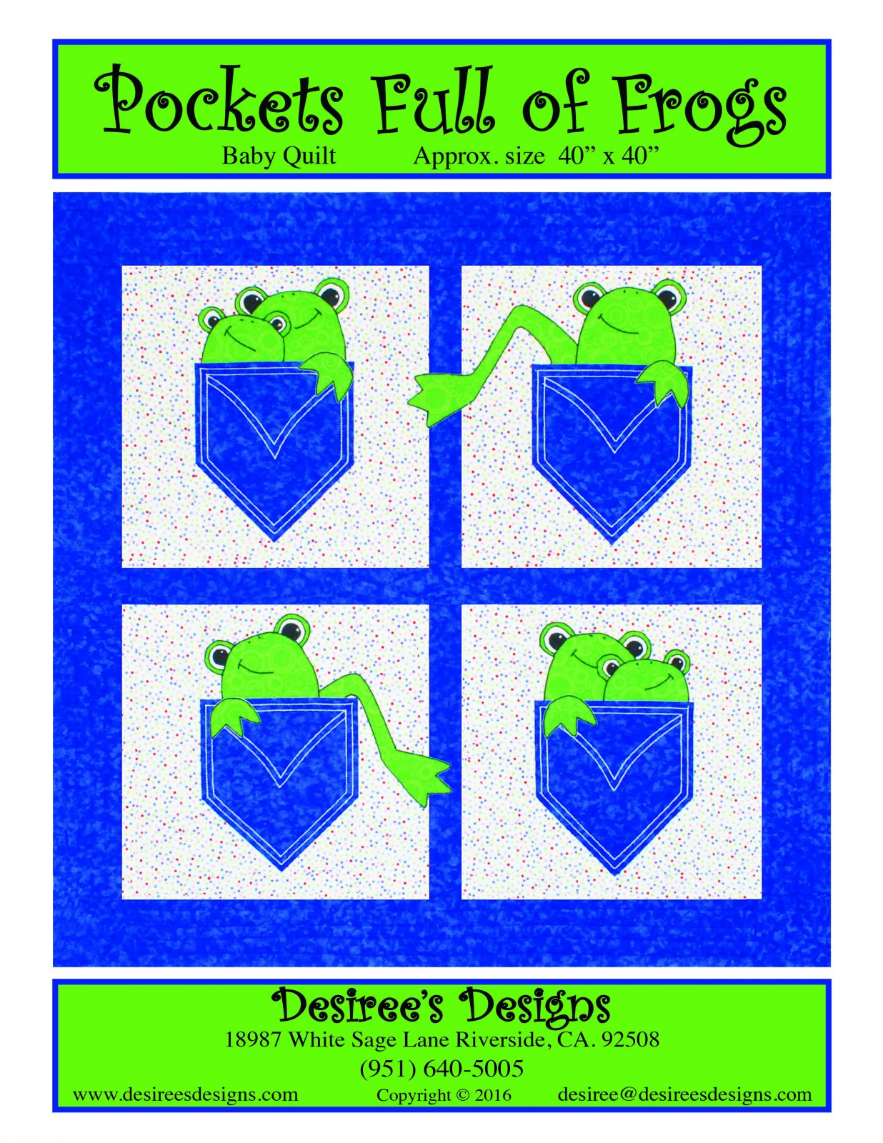 Pockets Full of Frogs E-pattern