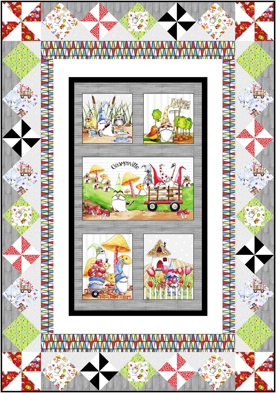Life in Gnomesville Quilt Pattern download only (YQ-04-E) Approx. 49 1/2x 70 1/2