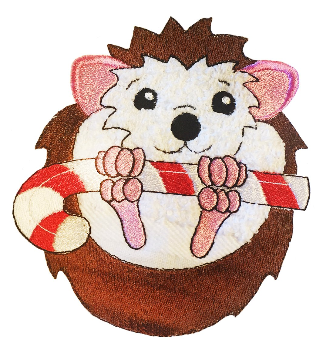 Hedgehog on Back with Candy Cane 5x7 Embroidery download
