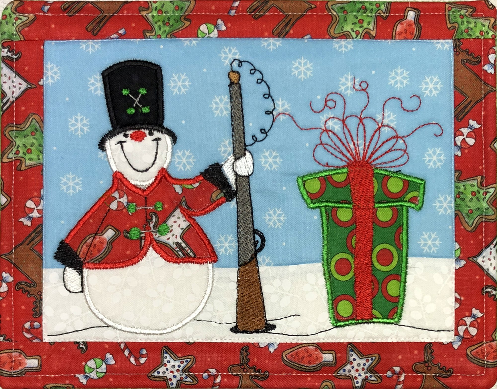 Santa's Snowman Sentry #1 ITH Mug Rug Embroidery CD- (MR-105-DDE-K) Kit