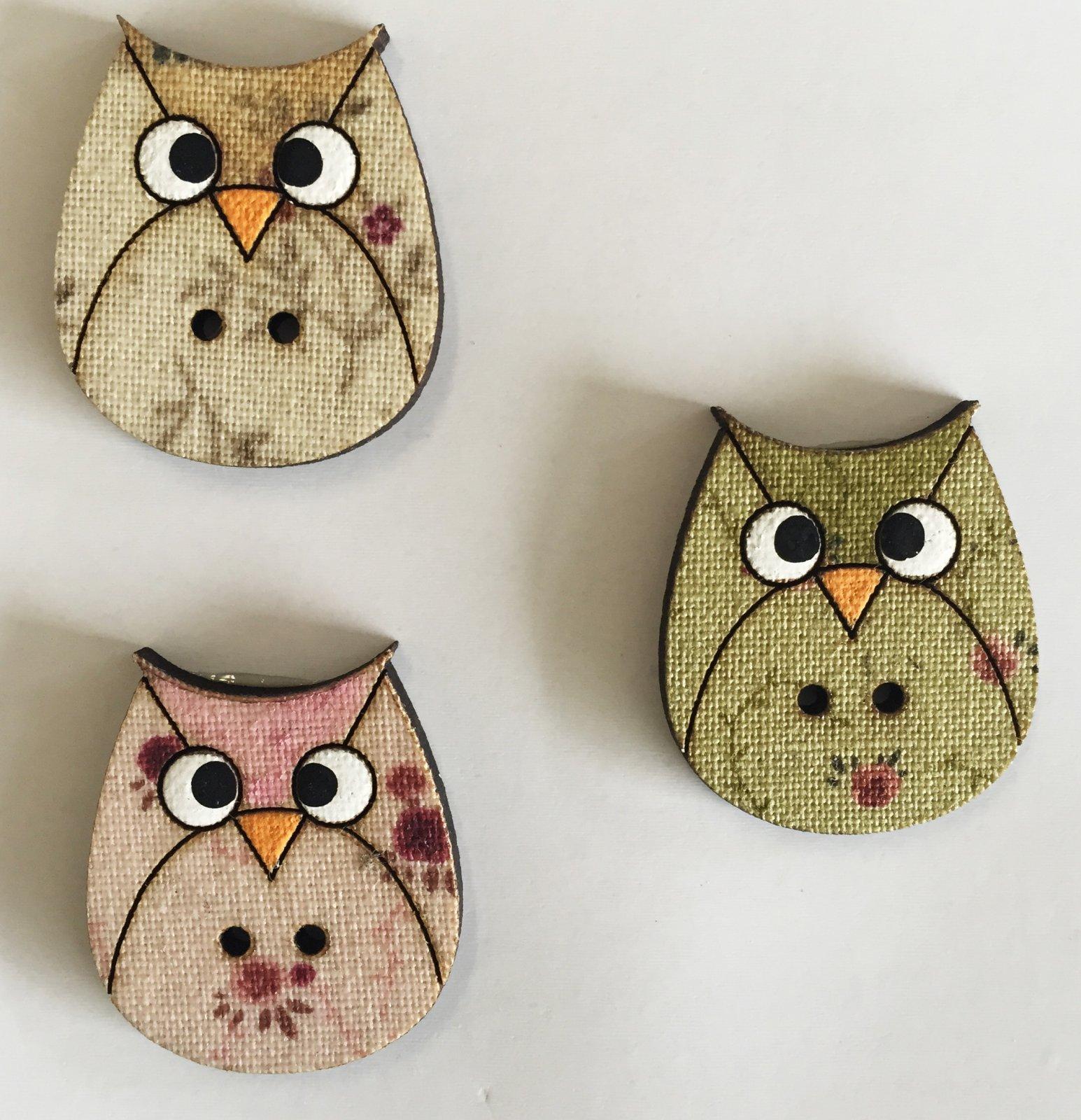 Three Owls Button  (BP-01Os)