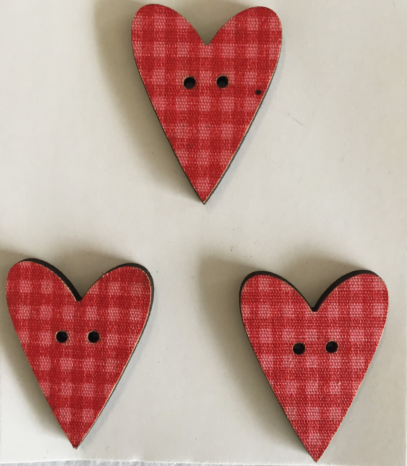 Three checkered Heart Buttons  (BP-01H)