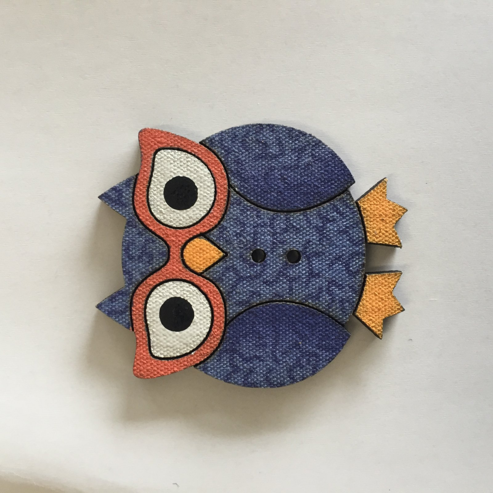 Large Owl with glasses Button (BP01OG)