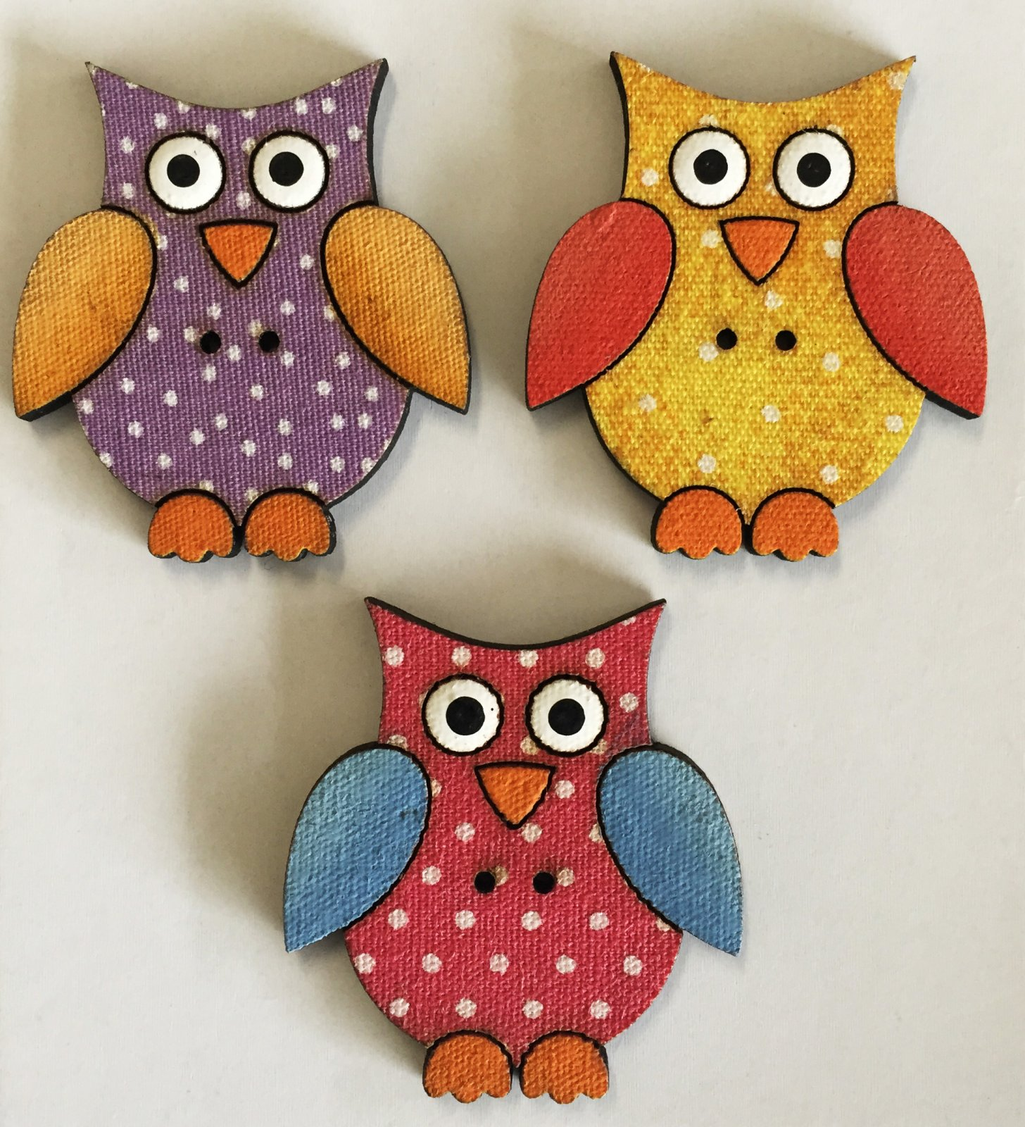Three whimsical Owl Buttons  (BP-01O2s)