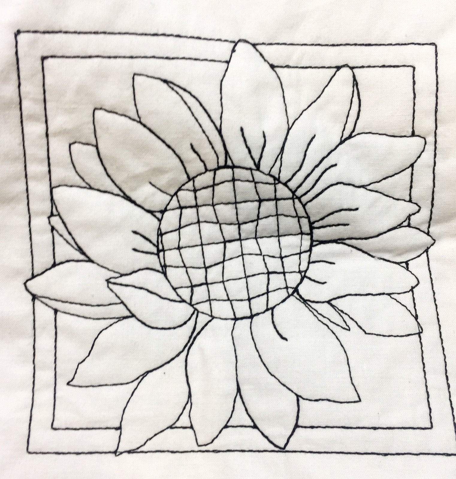 Pre-Stitched Art Applique blocks for coloring- Small single Sunflower (QA-15S)