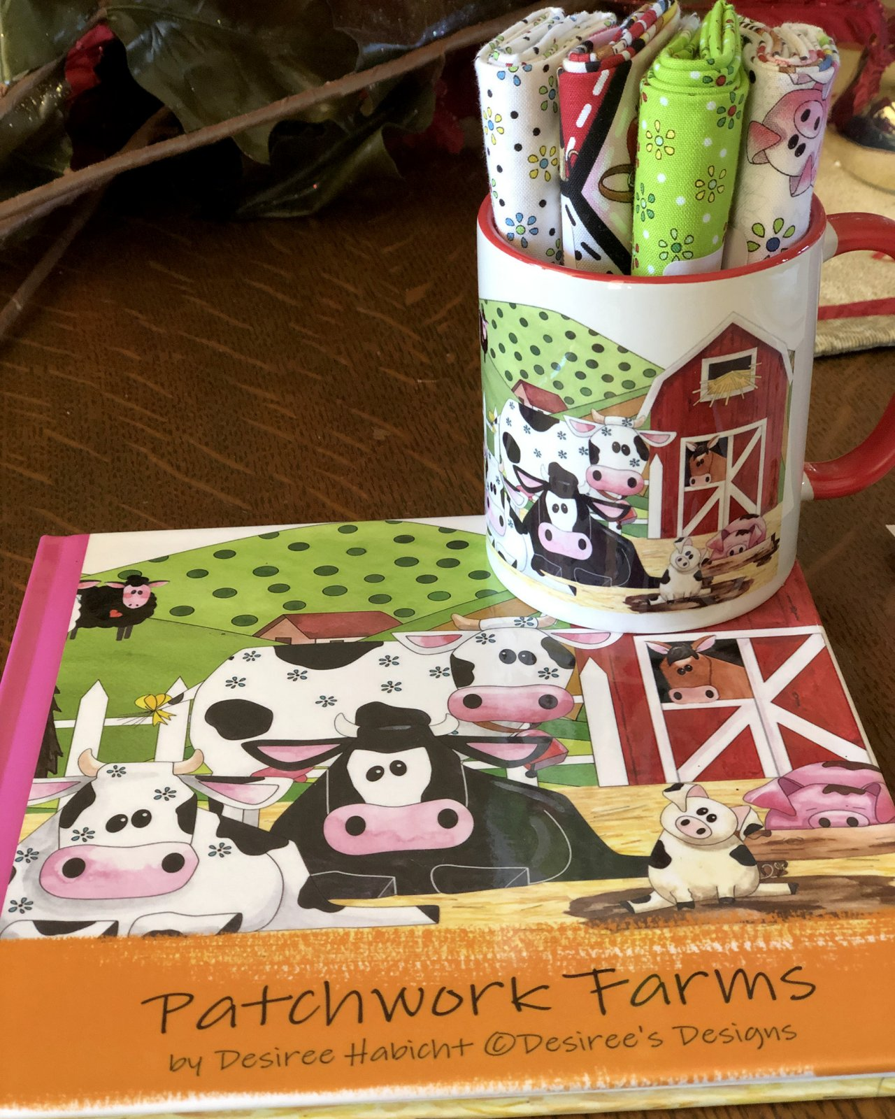 Limited Edition Patchwork Farms Mug with book,fabric and Matching memory game (QA-02PFK)