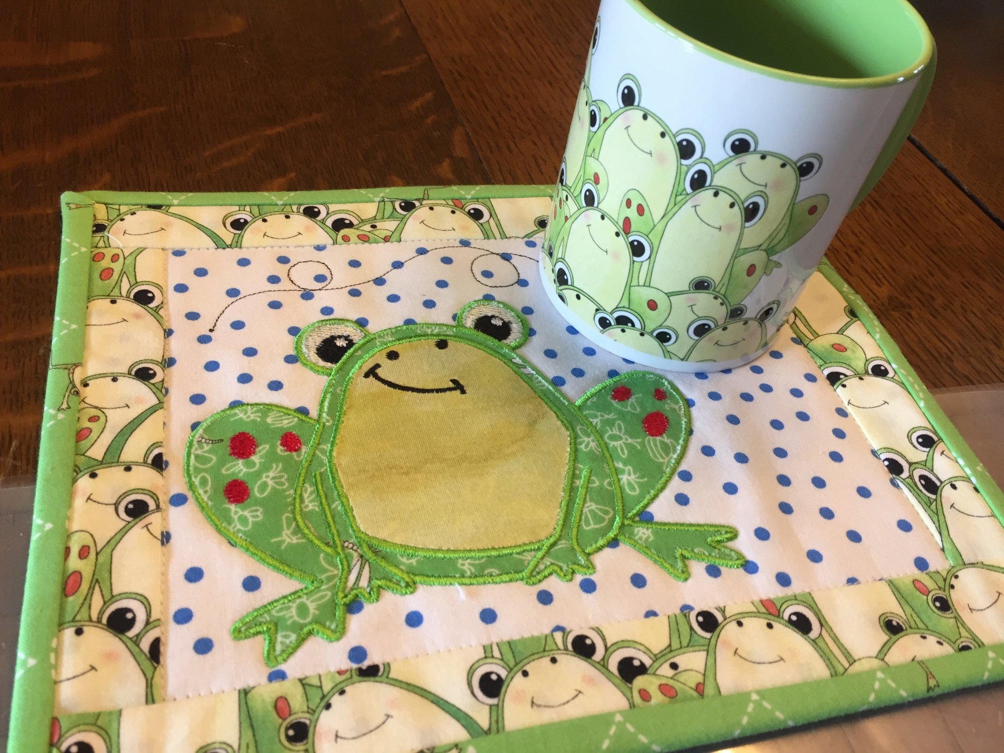 Tasty Tidbits Frog Mug Rug Pattern with matching Coffee Mug