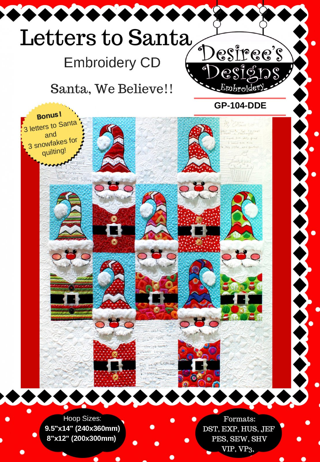 Letters to Santa Embroidery Download- (GP-104-DDE-E)