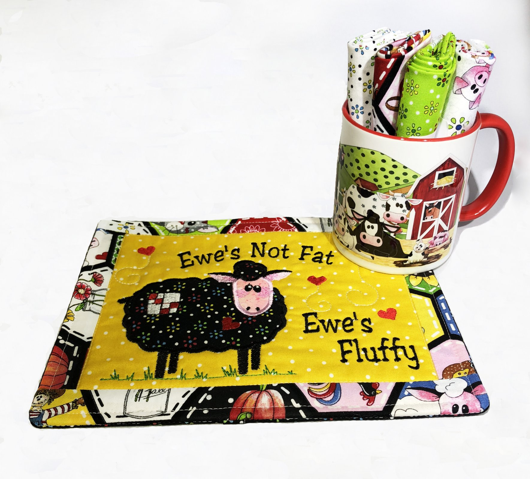 Limited Edition Ewe's Not Fat Ewe's Fluffy Mug Rug Embroidery CD with matching Coffee Mug Kit