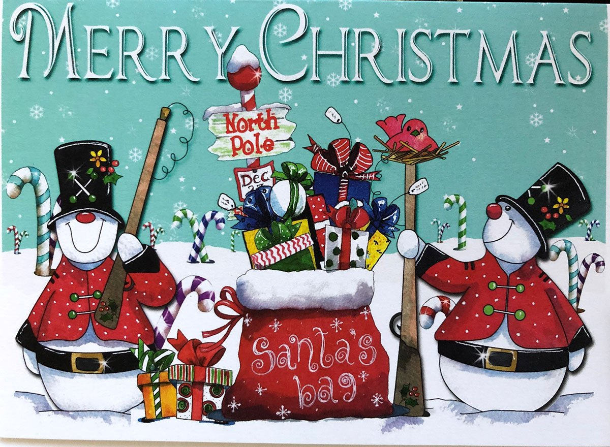 Merry Christmas Card with our Snowman Sentry (AWC-02-C)
