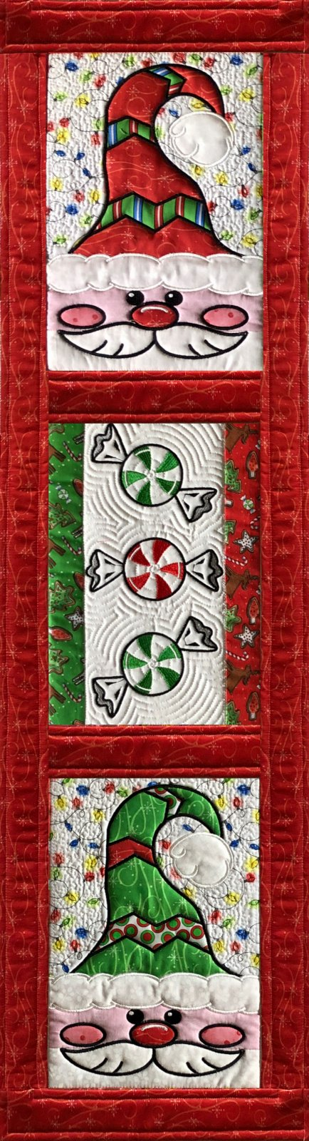 Peppermint Santa Kit for Vertical Tablerunner/wallhanging