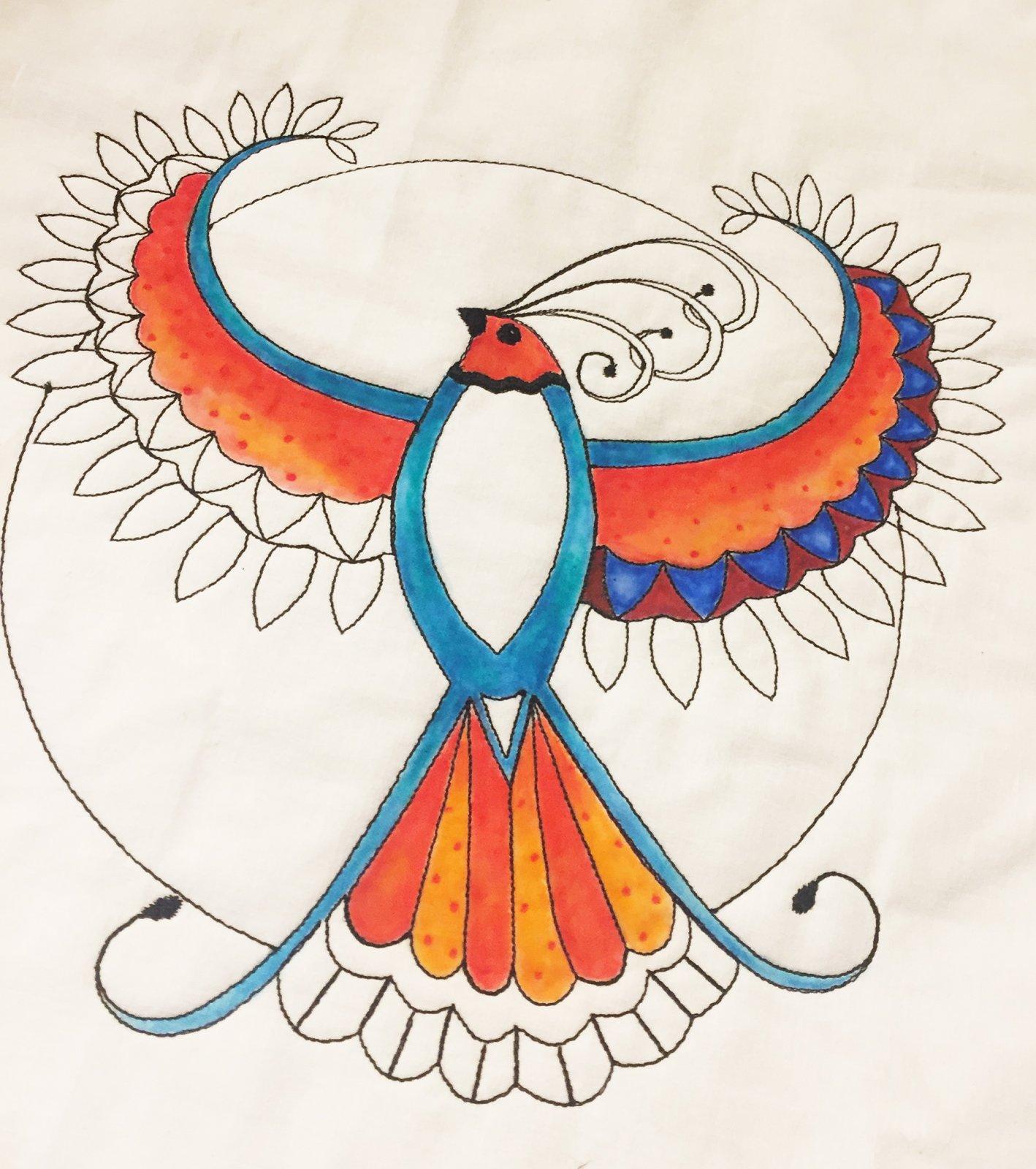 Pre-Stitched Art Applique blocks for coloring- Large Phoenix Bird (QA-14P)