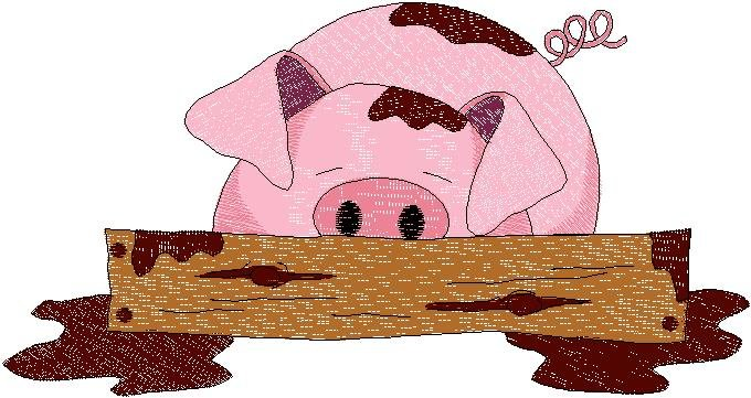 Patchwork Farms Pig in Mud Embroidery  Download (ED-03-E11)