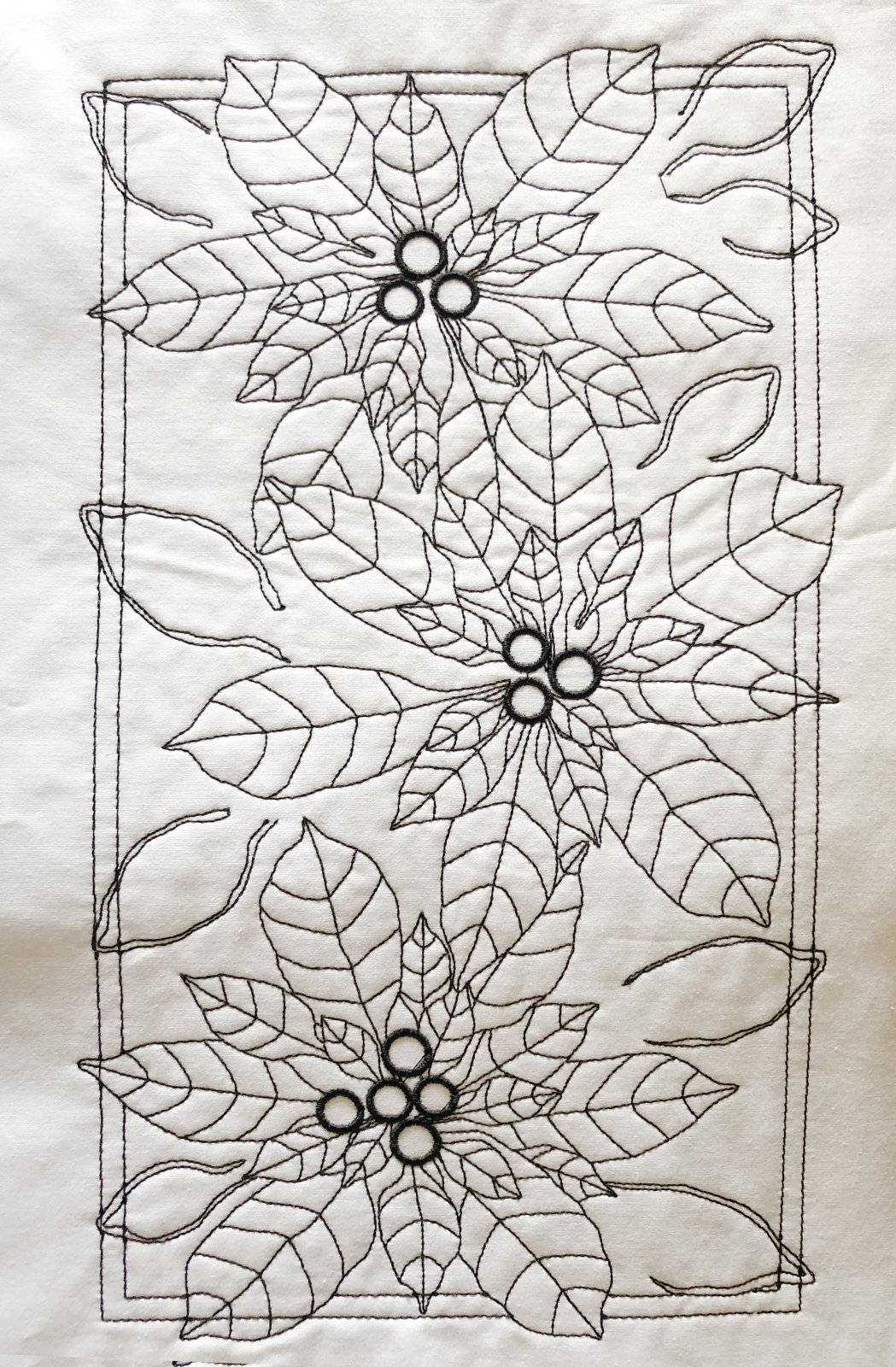 Pre-Stitched Art Applique blocks for coloring-Poinsettias (QA-14P)