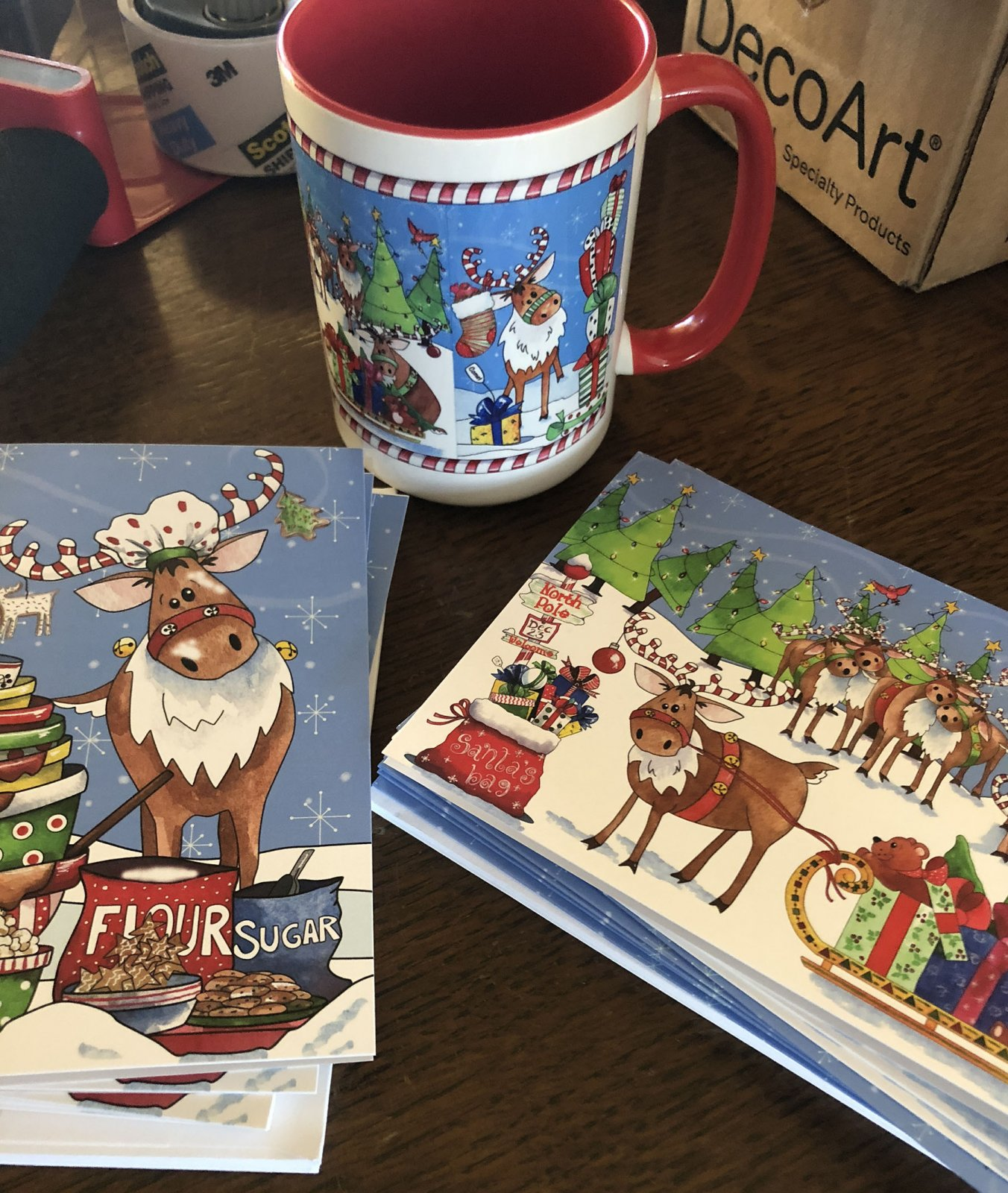 Limited Edition Reindeer Large Mug with cards and fabric (QA-02RK)