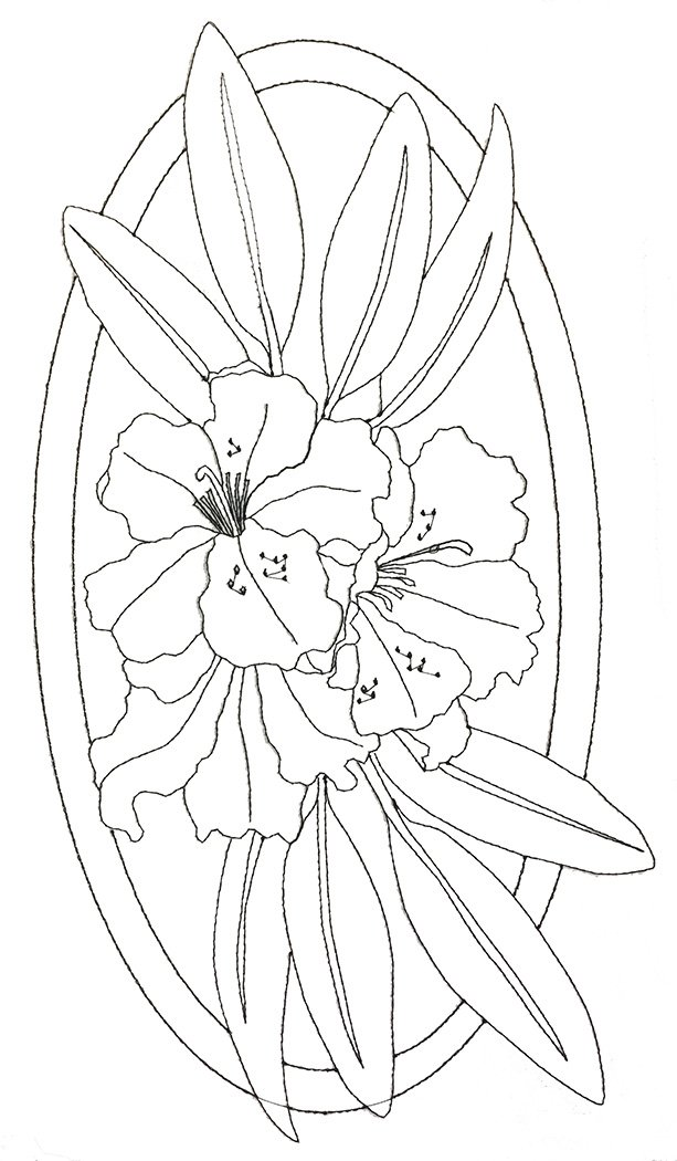 Pre-Stitched Art Applique blocks for coloring- Large Rhododendron (QA-14Rh)