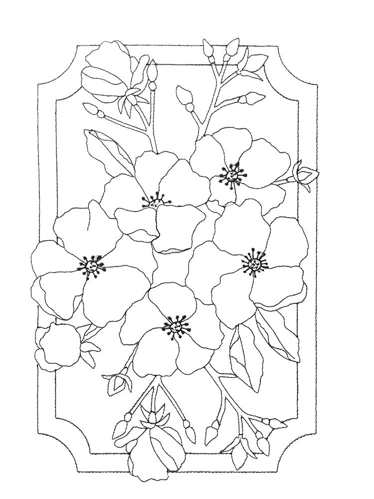 Pre-Stitched Art Applique blocks for coloring- Large Rose (QA-14R)
