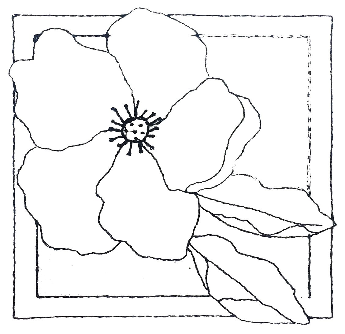 Pre-Stitched Art Applique blocks for coloring- Small single Rose (QA-15R)