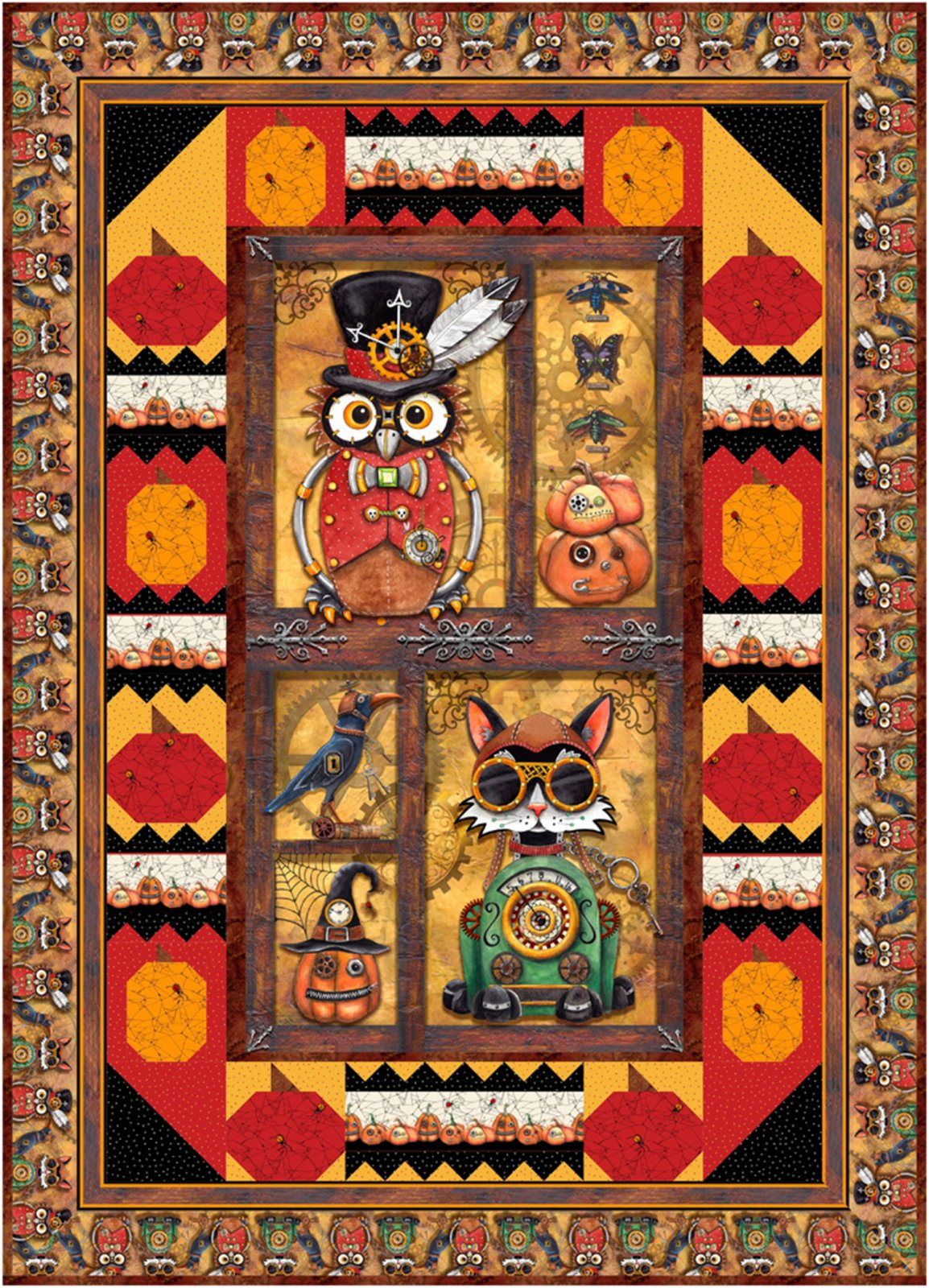 Steampunk Halloween Quilt Pattern (HQH-04-E)  Download only