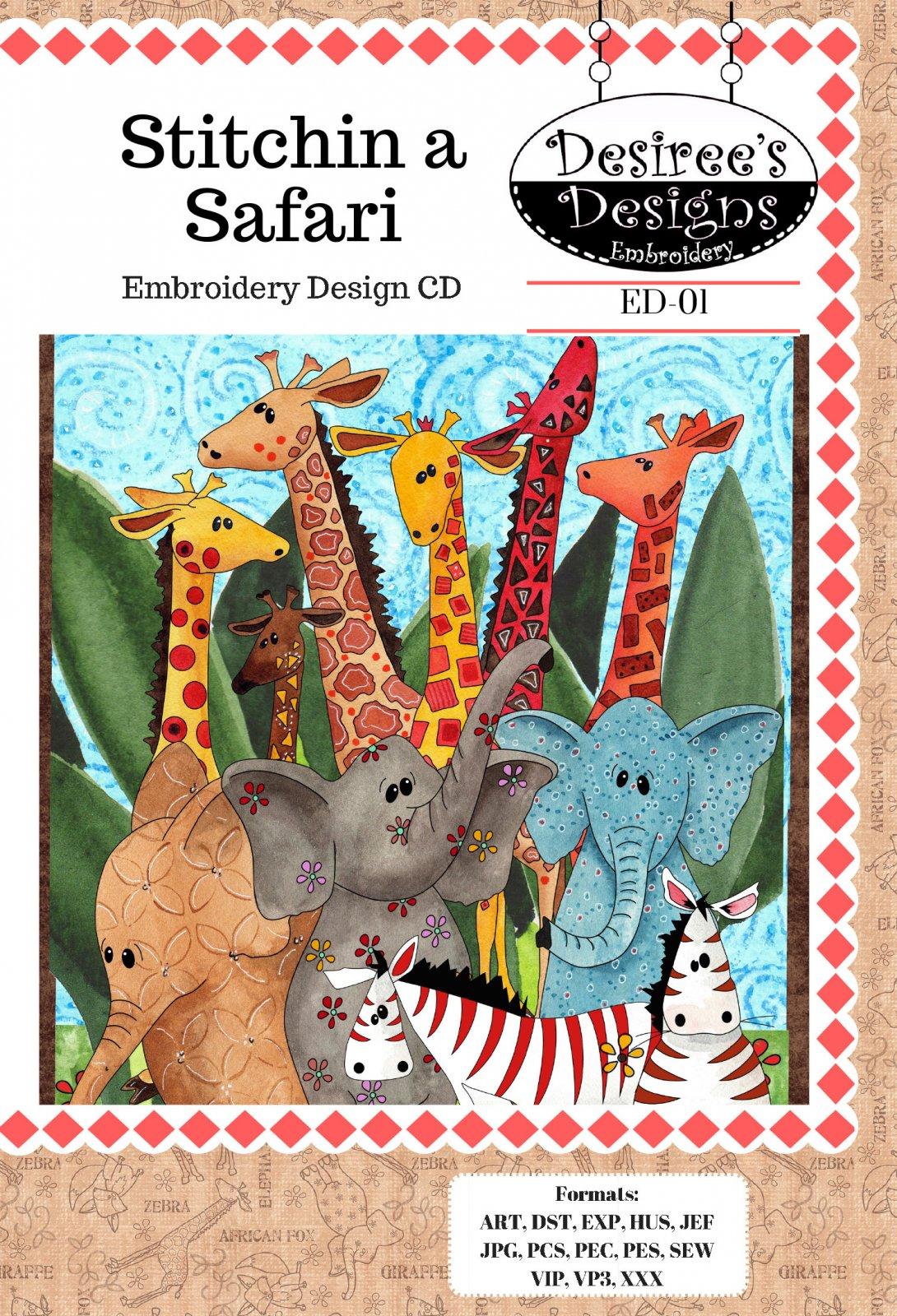Stitchin A Safari Embroidery CD