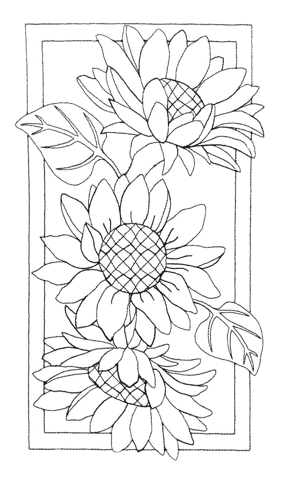 Pre-Stitched Art Applique blocks for coloring- Large Sunflowers(QA-14S)