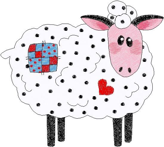 Patchwork Farms White Sheep Embroidery Download (ED-03-E16)