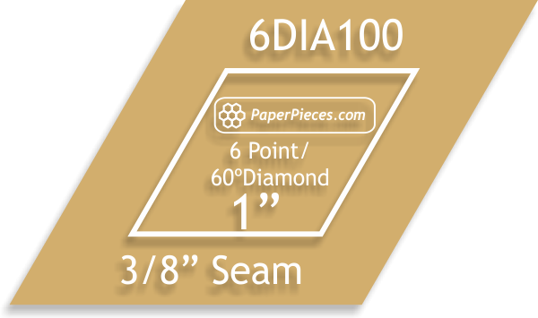 Paper Pieces 1 6 point diamond template  3/8 seam allowance