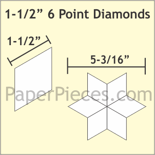 Paper Pieces 1 1/2 6 point diamond papers 75ct