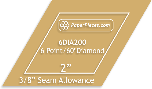 Paper Pieces 2 6 point diamond template- 3/8 seam allowance