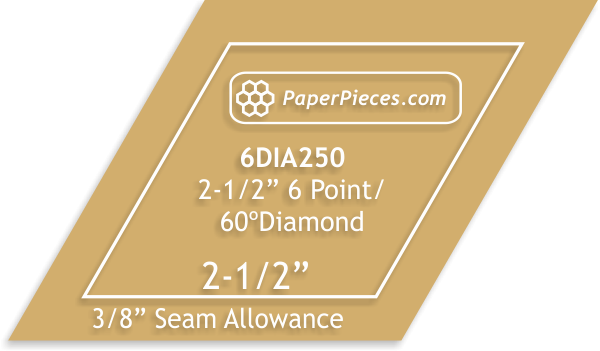 Paper Pieces 2 1/2 6 point diamond template- 3/8 seam allowance
