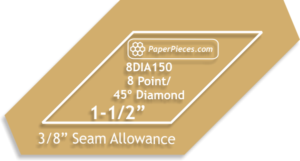 Paper Pieces 1 1/2 8 Point/45 degree Diamond Acrylic template