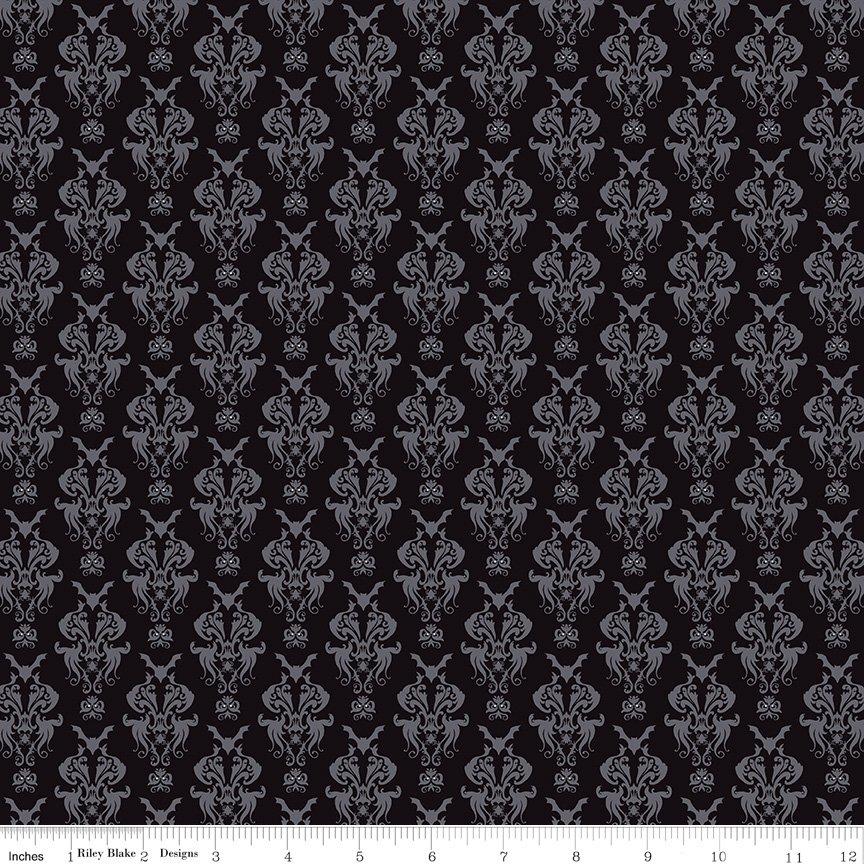 Spooky Hollow - Damask Black