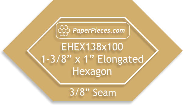Paper Pieces 1 3/8x 1 Elongated Hexagon Template