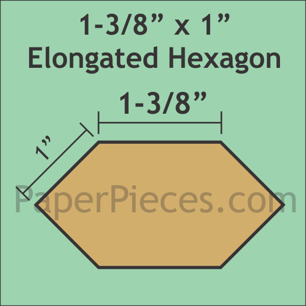 Paper Pieces 1 3/8 x 1 Elongated Hexagon papers (49 pieces)