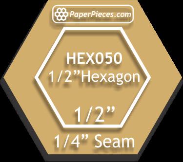 1/2 Hexagon Template with 1/4 seam allowance