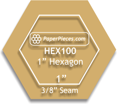 Paper Pieces 1 hexagon template- 3/8 seam allowance