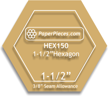 Paper Pieces 1 1/2 hexagon acrylic template- 3/8 seam allowance