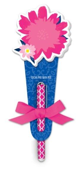 Pink Flower Sticky Pad with Pen- Lady Jayne