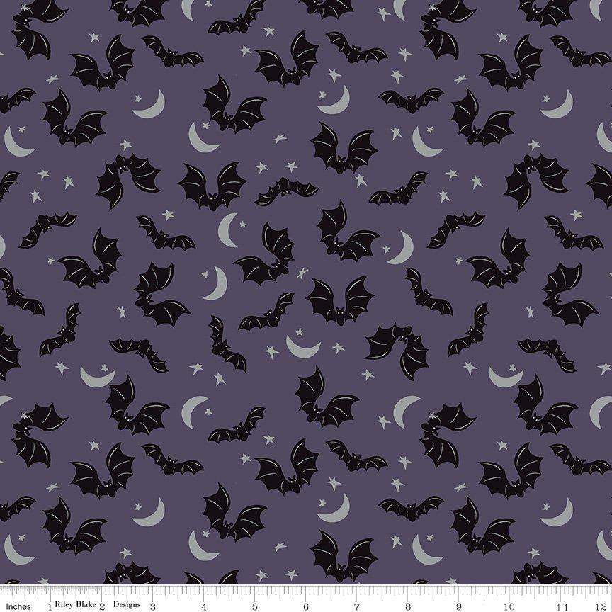 Spooky Hollow - Bats Eggplant (silver sparkle)